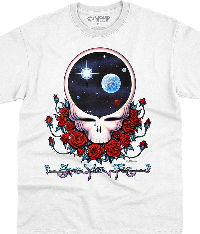 Grateful Dead Space Your Face White T-Shirt Tee Liquid Blue