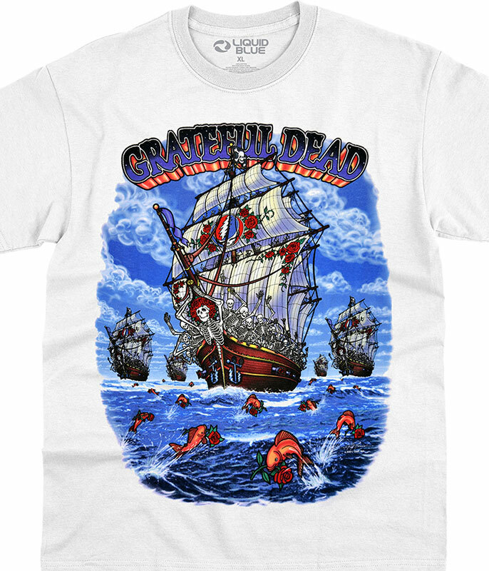 Grateful Dead Ship of Fools White T-Shirt Tee Liquid Blue