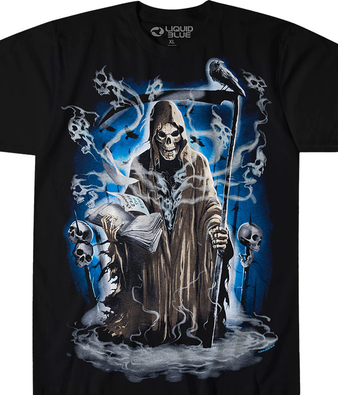Dark Fantasy Reaper Madness Black T-Shirt Tee Liquid Blue