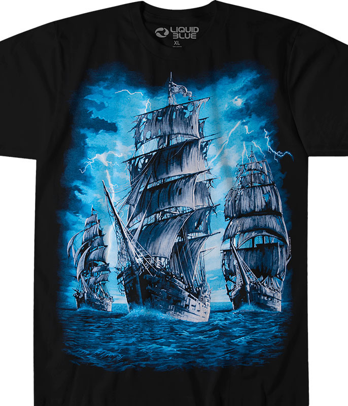 Dark Fantasy Pirate Ship Black T-Shirt Tee Liquid Blue