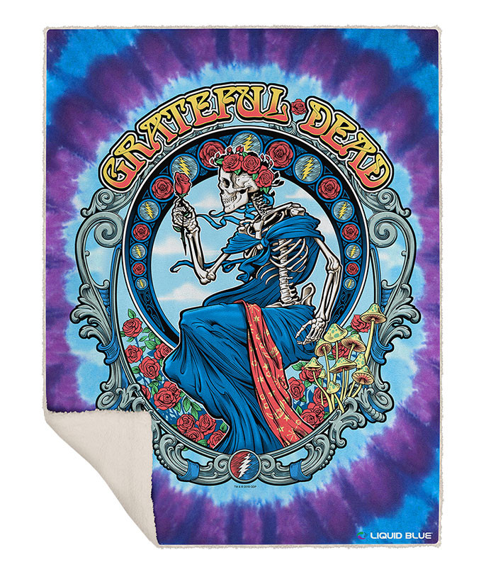 Grateful Dead Vintage Bertha Fleece Throw Blanket Liquid Blue
