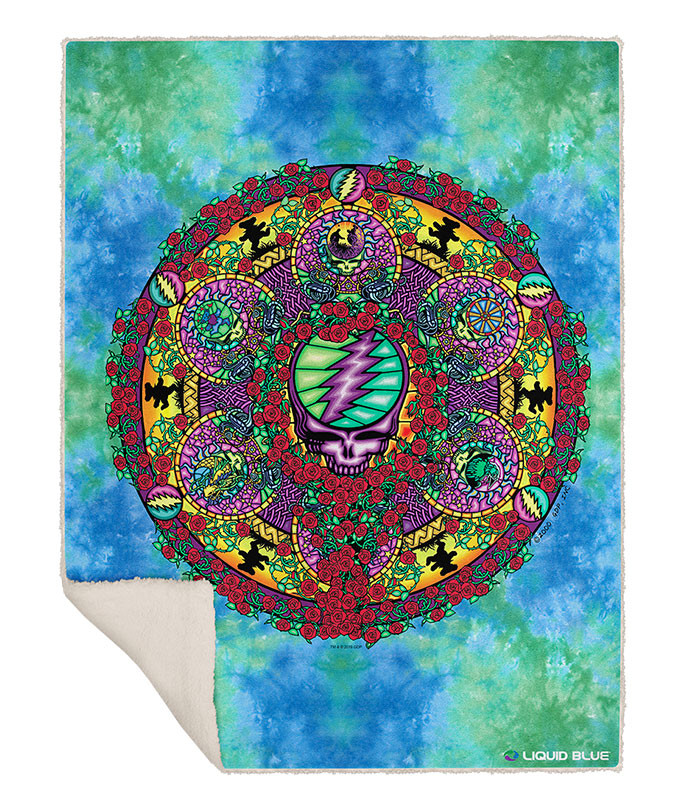 Grateful Dead Celtic Mandala Fleece Throw Blanket Liquid Blue