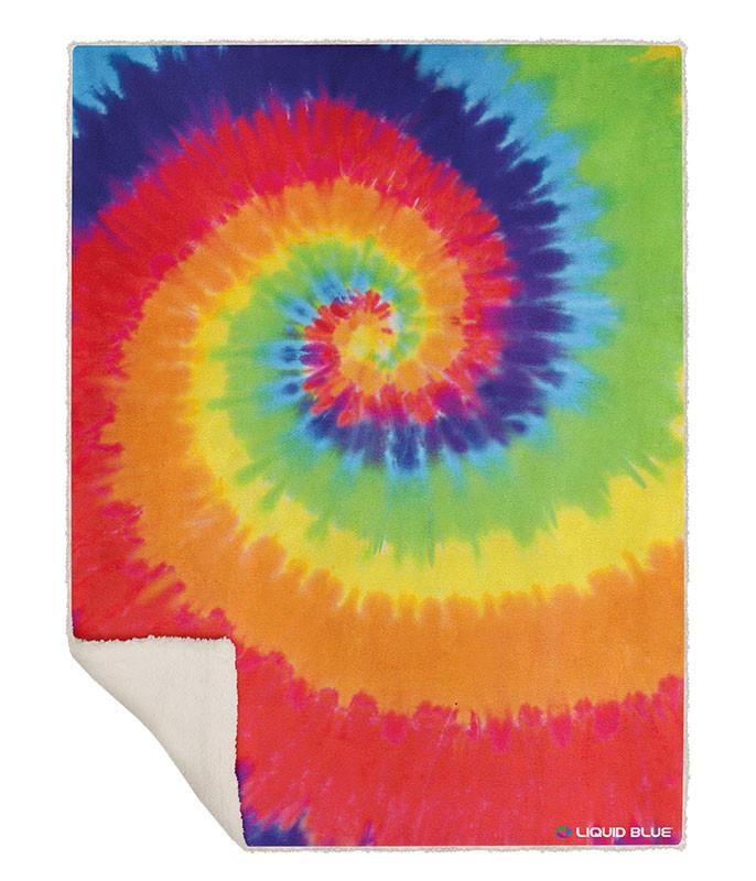 Rainbow Spiral Fleece Throw Blanket Liquid Blue