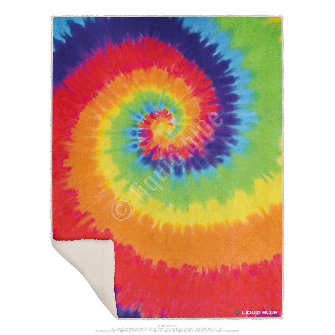 Rainbow Spiral Fleece Throw Blanket