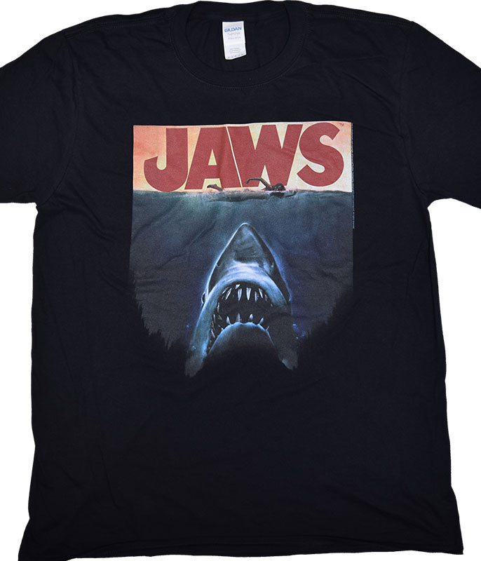 Jaws Poster Again Black T-Shirt