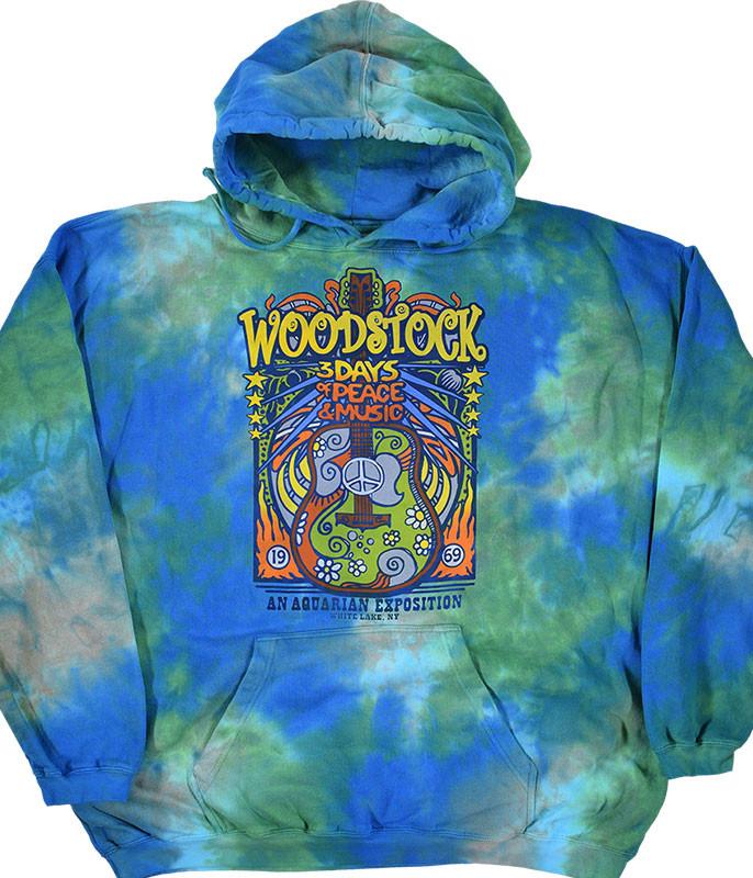 Woodstock Music Festival Tie-Dye Hoodie Liquid Blue