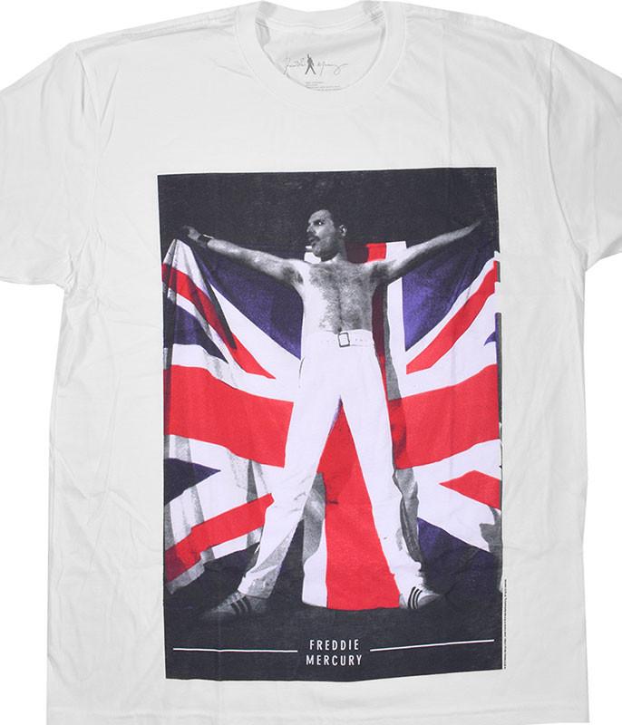 Queen Freddie Flag White T-Shirt Tee