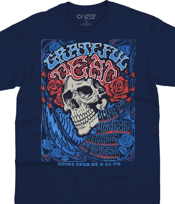 Grateful Dead Bertha Ballroom Navy T-Shirt Tee Liquid Blue