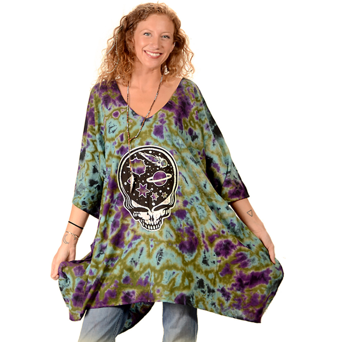 Grateful Dead Space Your Face Tie-Dye Poncho