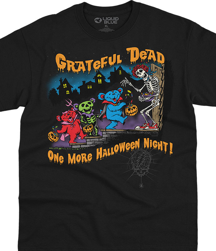 Grateful Dead Halloween Night Black T-Shirt Tee Liquid Blue