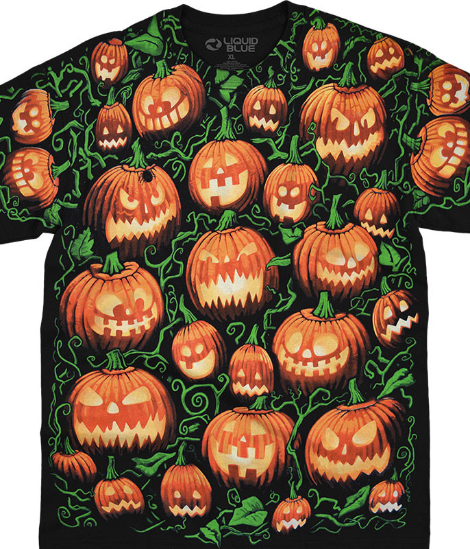 Halloween Pumpkin Pile Black T-Shirt Tee Liquid Blue