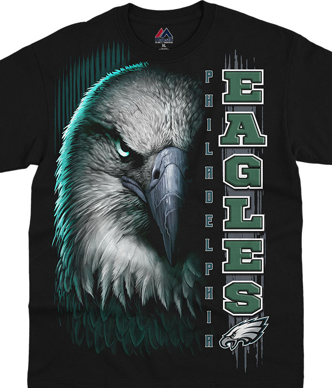 NFL Philadelphia Eagles Franchise Black T-Shirt Tee Liquid Blue