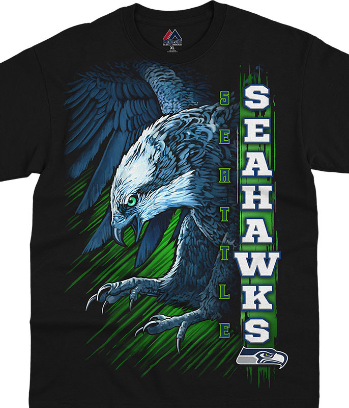 NFL Seattle Seahawks Franchise Black T-Shirt Tee Liquid Blue