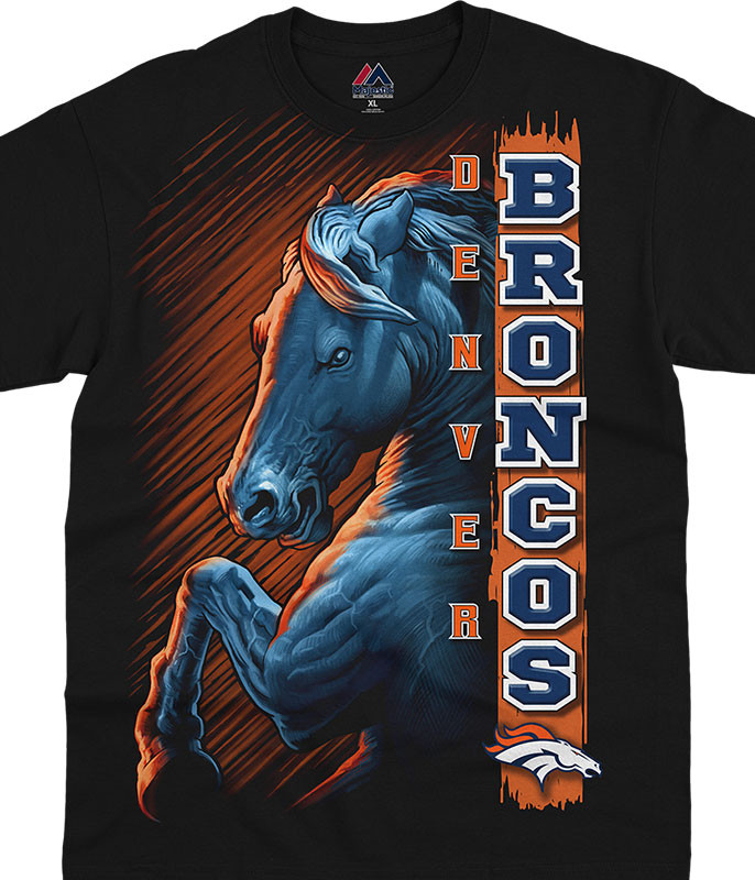 NFL Denver Broncos Franchise Black T-Shirt Tee Liquid Blue