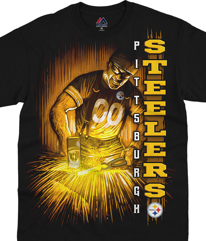 NFL Pittsburgh Steelers Franchise Black T-Shirt Tee Liquid Blue