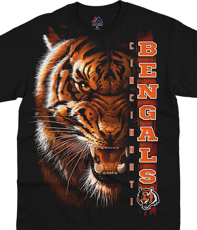 NFL Cincinnati Bengals Franchise Black T-Shirt Tee Liquid Blue