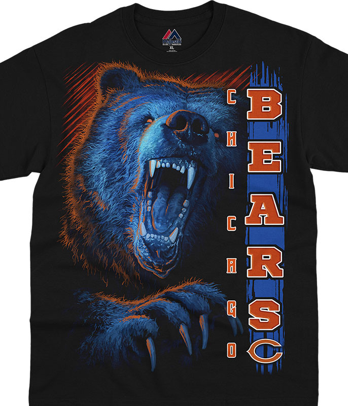 NFL Chicago Bears Franchise Black T-Shirt Tee Liquid Blue