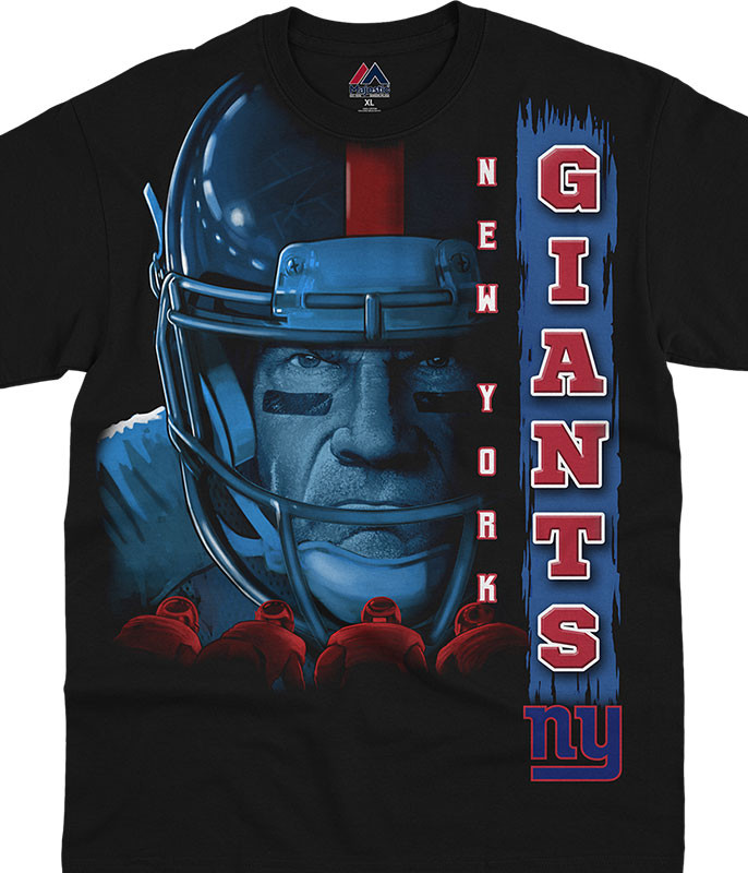 NFL New York Giants Franchise Black T-Shirt Tee Liquid Blue