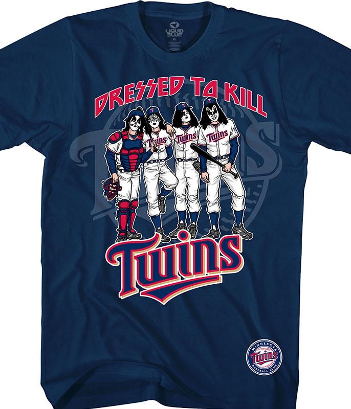 MLB Minnesota Twins KISS Dressed to Kill Navy T-Shirt Tee Liquid Blue