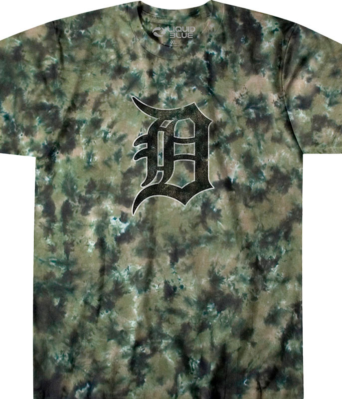 MLB Detroit Tigers Camo Tie-Dye T-Shirt Tee Liquid Blue