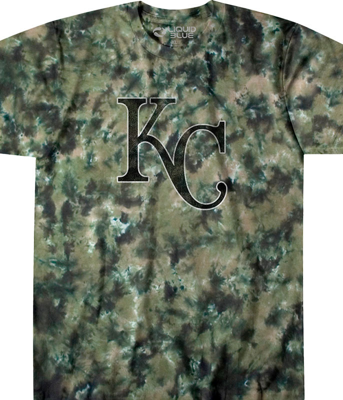 MLB Kansas City Royals Camo Tie-Dye T-Shirt Tee Liquid Blue