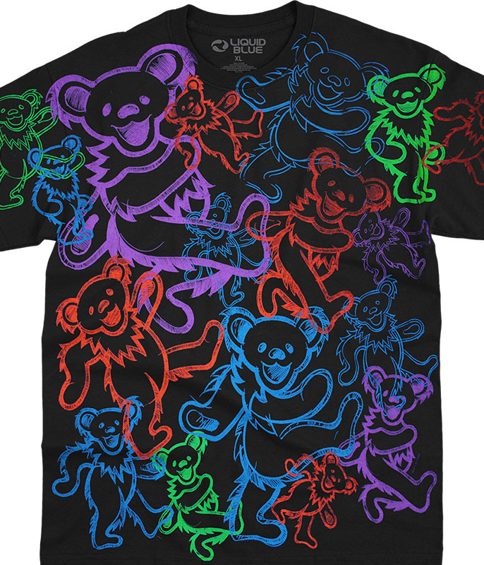 Grateful Dead Rainbow Bears Black T-Shirt Tee Liquid Blue