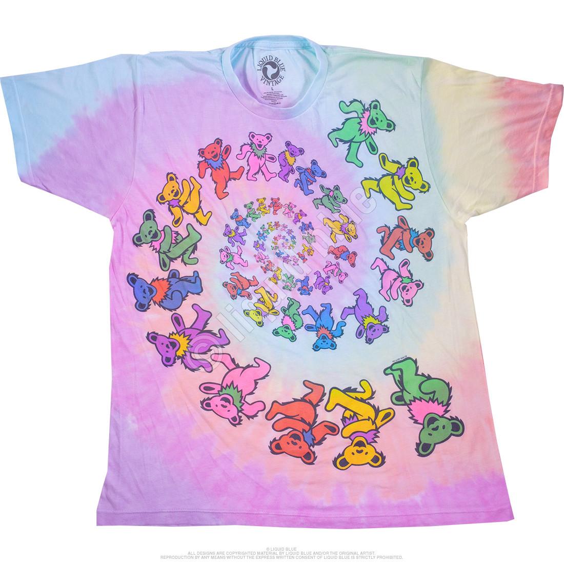 Vintage Spiral Bears Poly-Cotton Tie-Dye T-Shirt