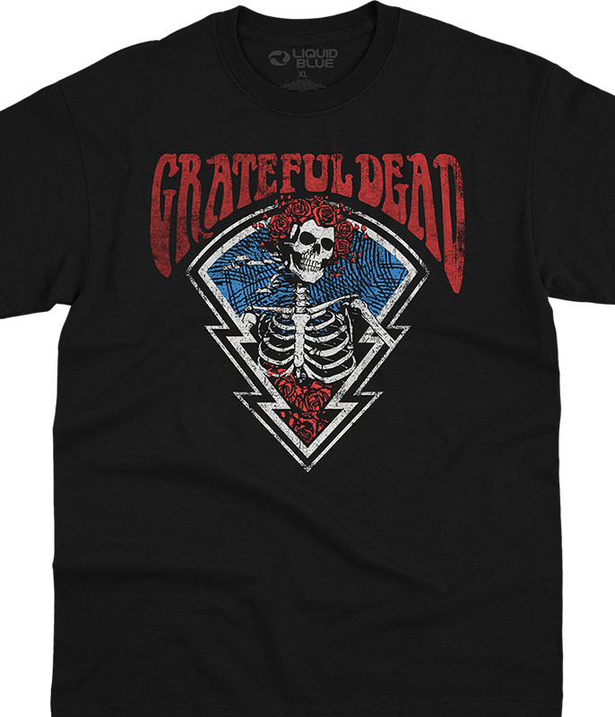 Grateful Dead Bertha Icon Black T-Shirt Tee Liquid Blue
