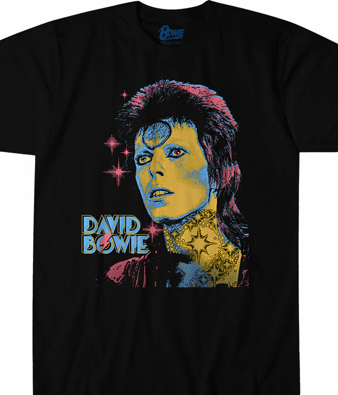 David Bowie Ziggy Black T-Shirt Tee Liquid Blue