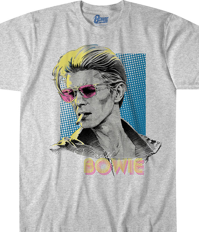 Bowie Sketch Heather Grey Poly-Cotton T-Shirt Tee Liquid Blue