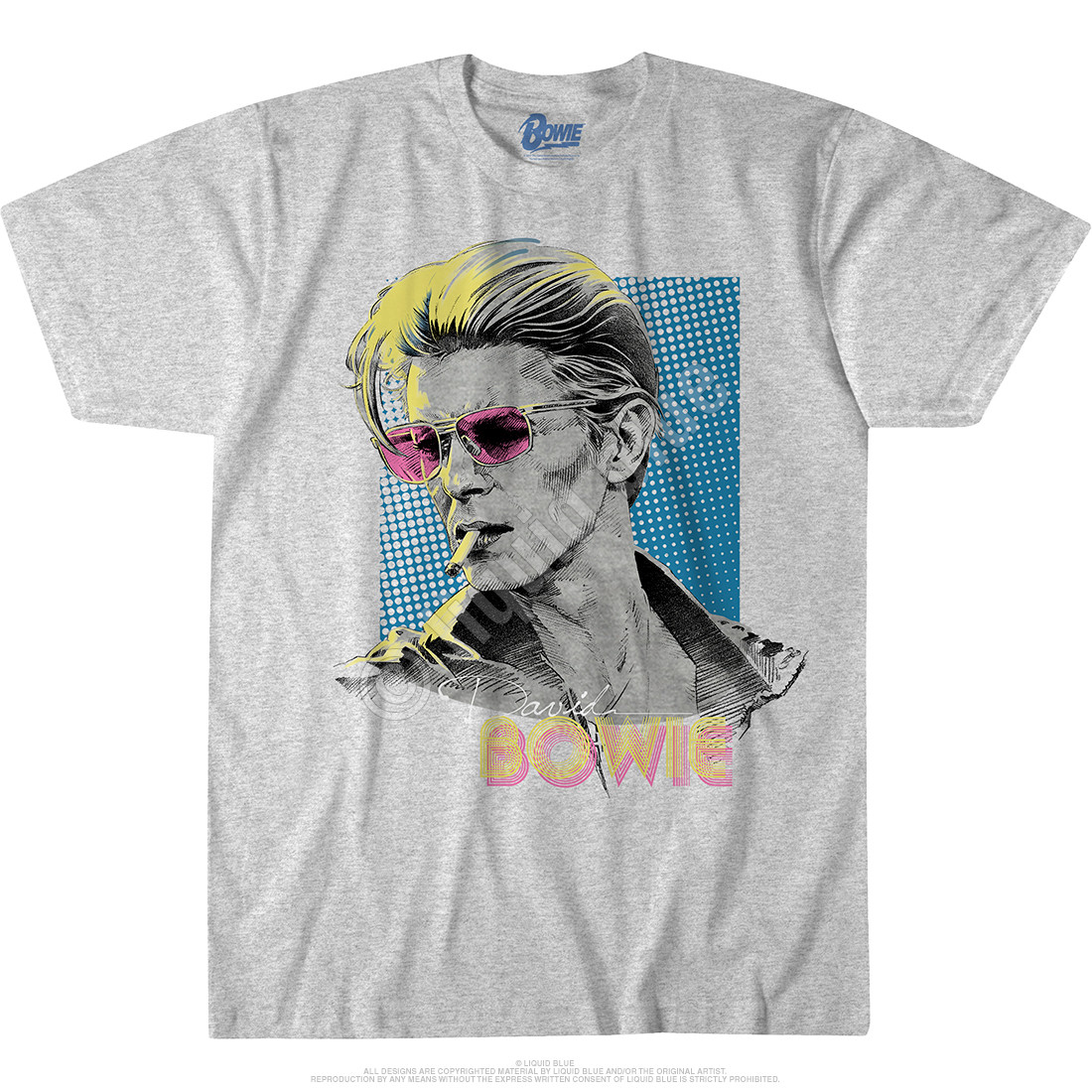 Bowie Sketch Heather Grey Poly-Cotton T-Shirt