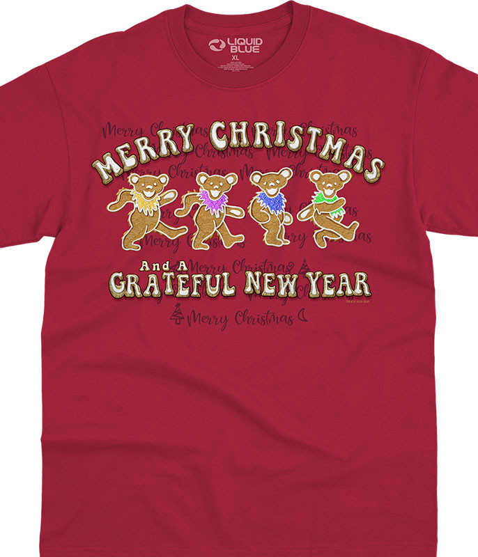 Dancin' Grateful Dead Gingerbread Bears Red T-Shirt Tee Liquid Blue