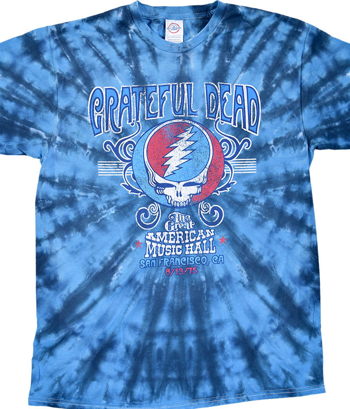 Grateful Dead GD American Music Hall Tie-Dye T-Shirt Tee Liquid Blue