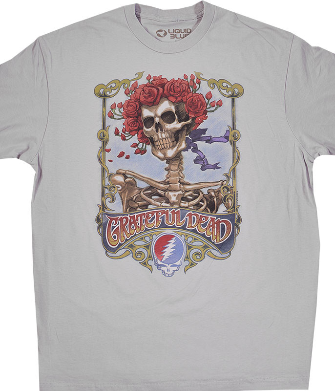 Grateful Dead GD Bertha Athletic Grey T-Shirt Tee Liquid Blue