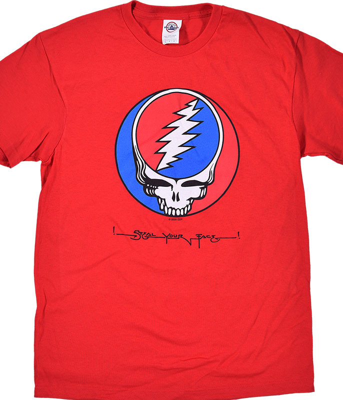 Grateful Dead GD Steal Your Face Red T-Shirt Tee Liquid Blue