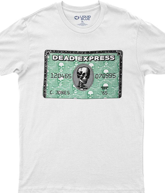Dead Express White Athletic T-Shirt Tee Liquid Blue