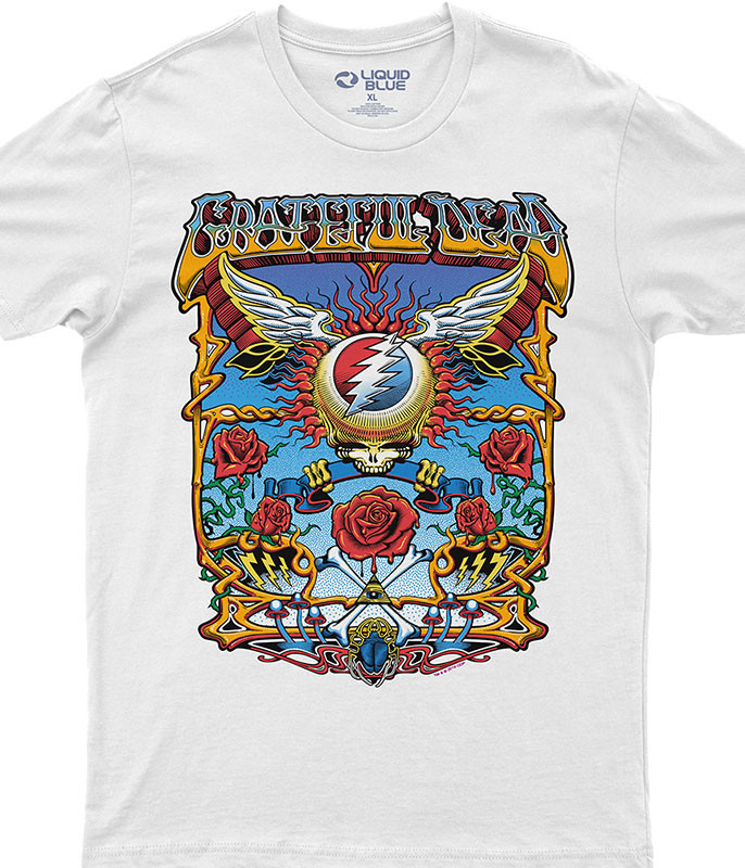Grateful Dead Flying SYF White Athletic T-Shirt Tee Liquid Blue