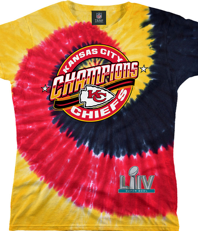 Kansas City Chiefs Super Bowl LIV Champions Womens Tie-Dye Long Length T-Shirt