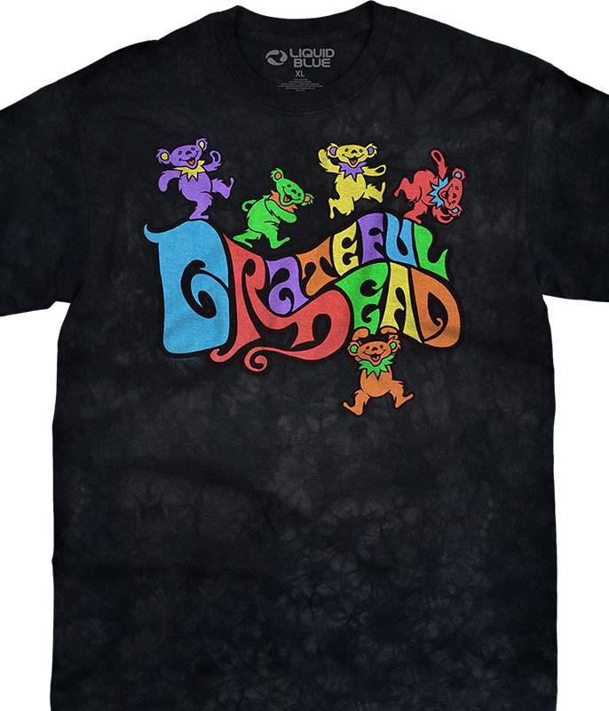 Grateful Dead Flipside Bears Tie-Dye T-Shirt Tee Liquid Blue