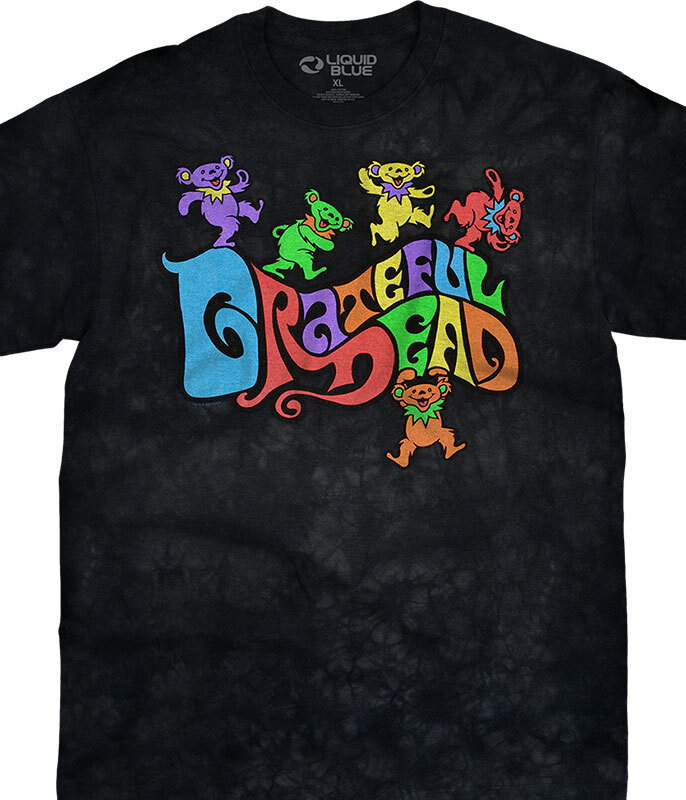 Grateful Dead Flipside Bears Tie-Dye T-Shirt Tee Liquid Blue