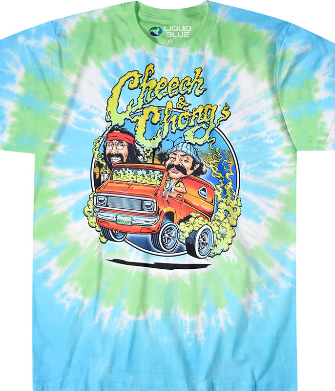 Cheech and Chong Smokin Ride Tie-Dye T-Shirt Tee Liquid Blue