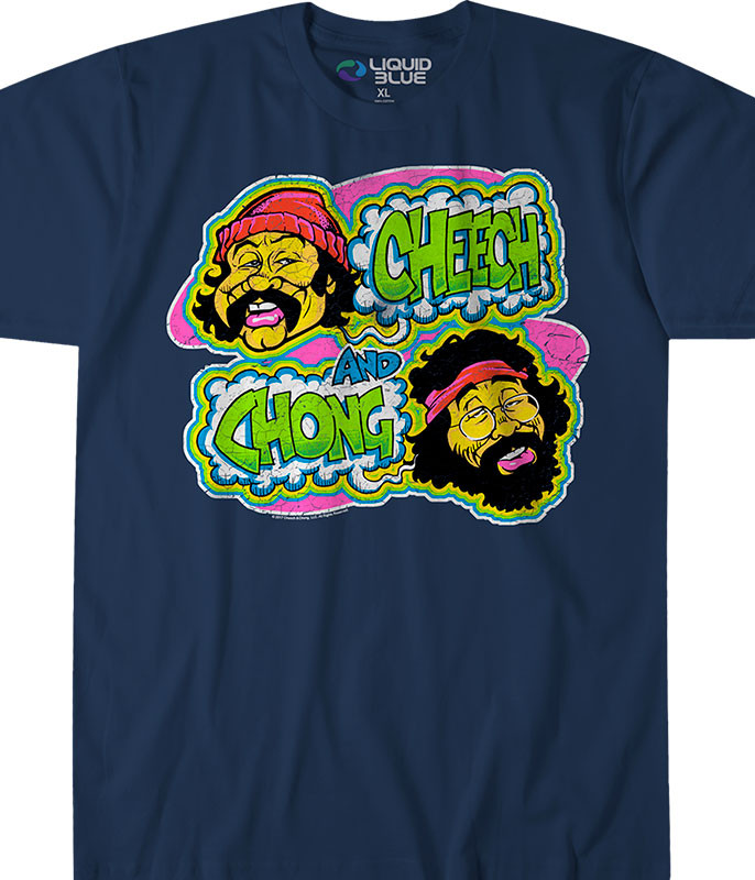 Cheech and Chong Cheech and Chong Transfer Navy T-Shirt Tee Liquid Blue