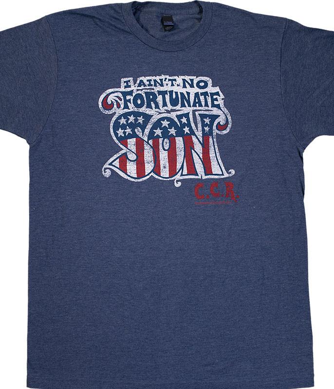 Fortunate Son Blue Poly Cotton T-Shirt Tee Liquid Blue