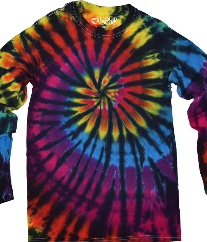 Rainbow Spiral Streak Unprinted Tie-Dye Long Sleeve T-Shirt