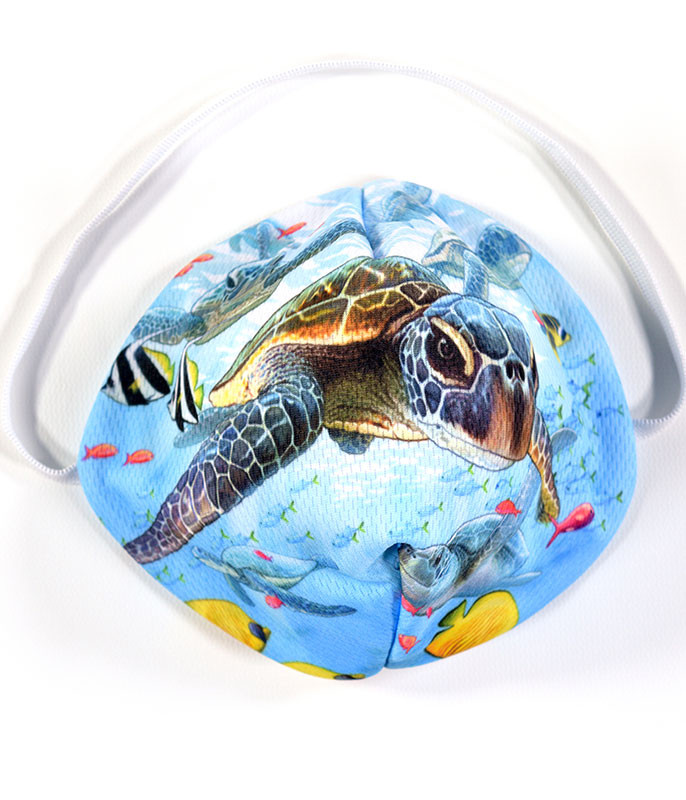 Liquid Blue Sea Turtles Face Mask Face Shield