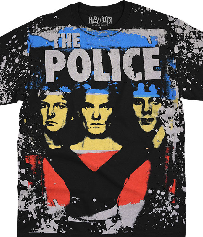 The Police Synchronicity Havok Black T-Shirt Tee Liquid Blue