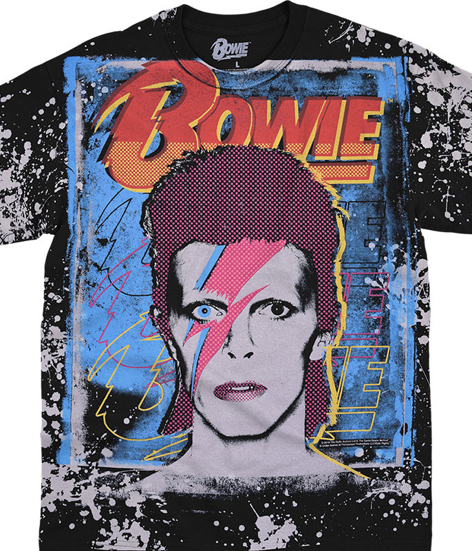 David Bowie Ziggy Havok Black T-Shirt Tee Liquid Blue