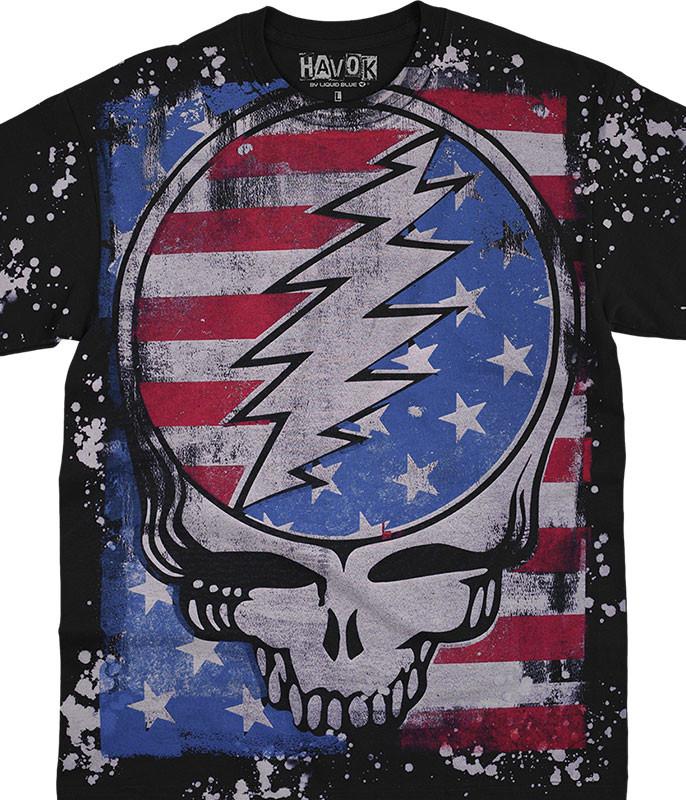 Grateful Dead True Blue SYF Havok Black T-Shirt Tee Liquid Blue