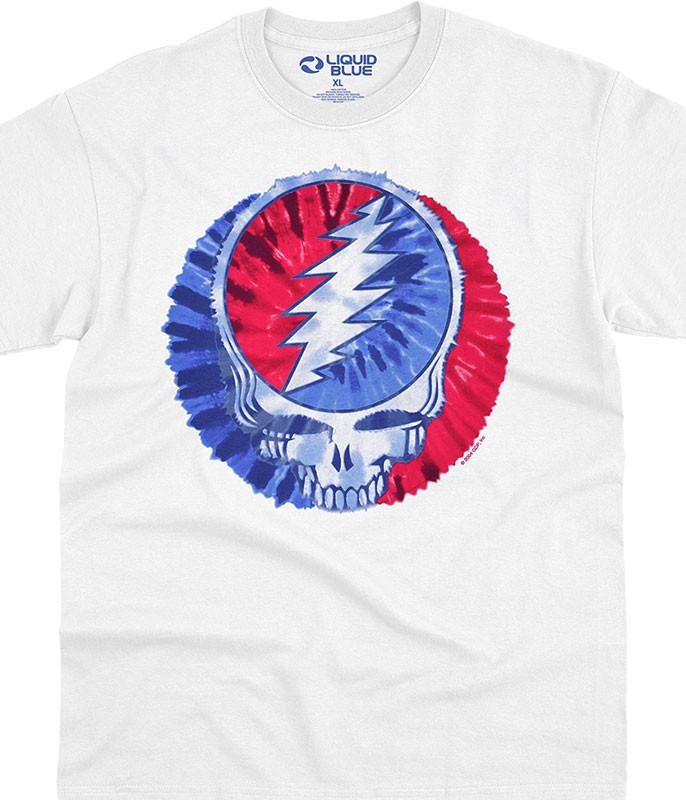 Grateful Dead American SYF White T-Shirt Tee Liquid Blue