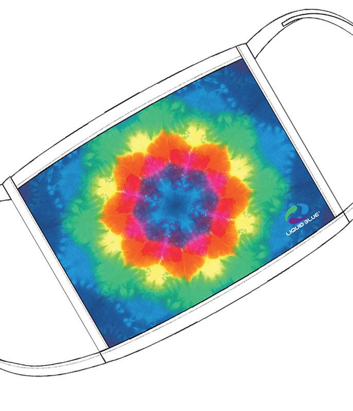 Liquid Blue Rainbow Mandala Face Covering